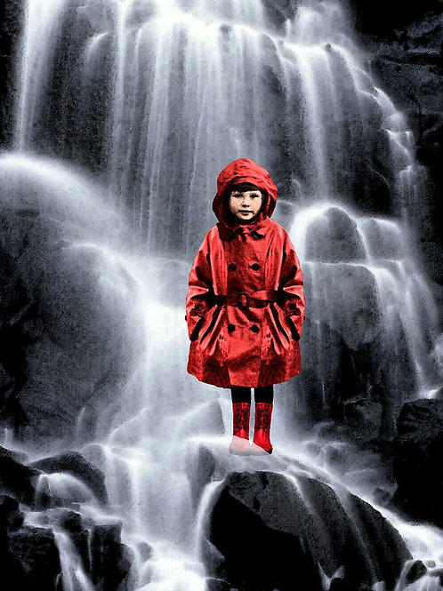 Fairy tale Waterfall and the Girl in the Red Raincoat