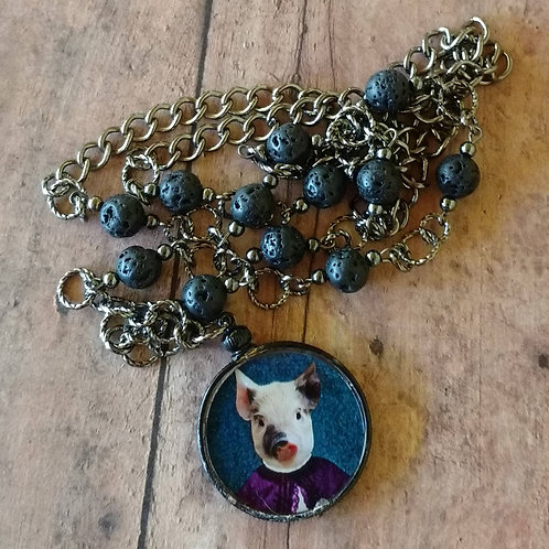 Victorian Piglet BABY PIG NECKLACE altered art digital anthro