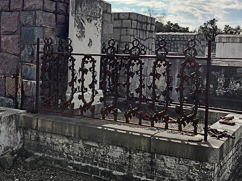Grapevine Wrought Iron Tomb Fence in Haunted Cemetery