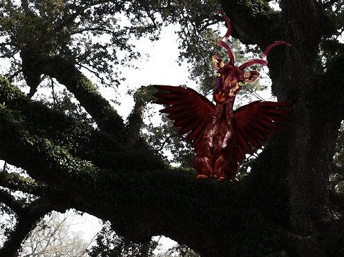 Giraffe Gargoyle in the Louisiana Oak Tree