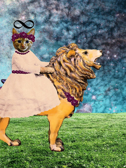 Tarot Card Ginger Kitten as Strength