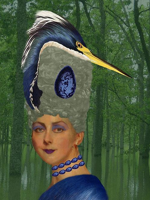 Blue Heron Rococo Fashion as Egg Couture
