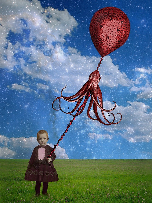 Squid Floats Victorian Child and her Red Balloon