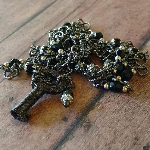 Antique Skeleton Key NECKLACE barrel beaded Czech black glass bohemian Victorian