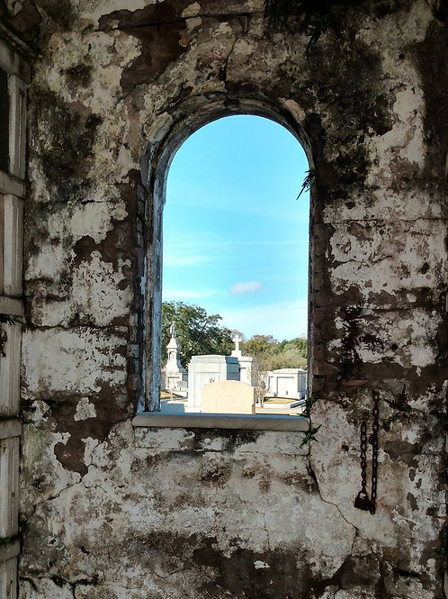 New Orleans Tomb ruin with a graveyard view of headstones