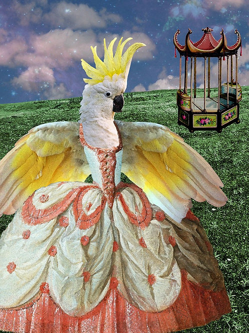 Cockatoo pet art as Custom Rococo Princess
