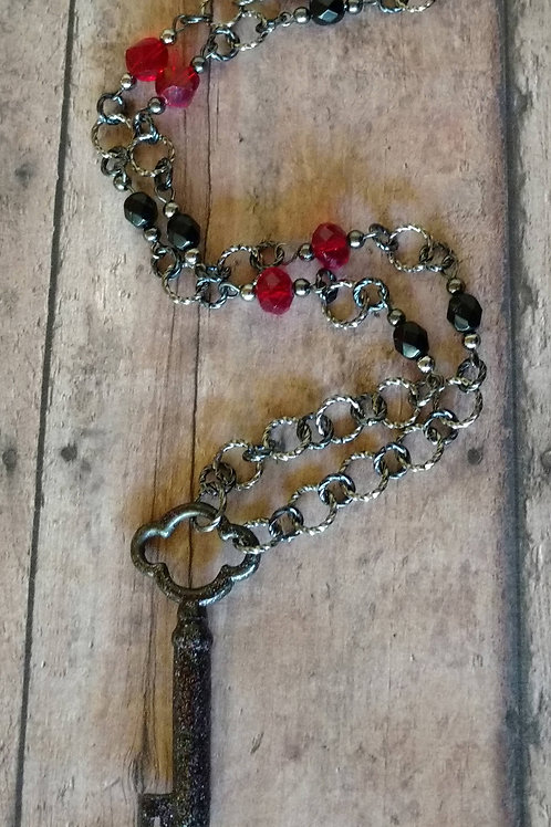 Antique Skeleton Key NECKLACE gothic red beaded Czech glass bohemian Victorian g