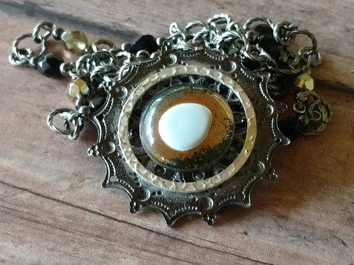 Talisman GLASS EYE Necklace Czech beaded gypsy boho steampunk