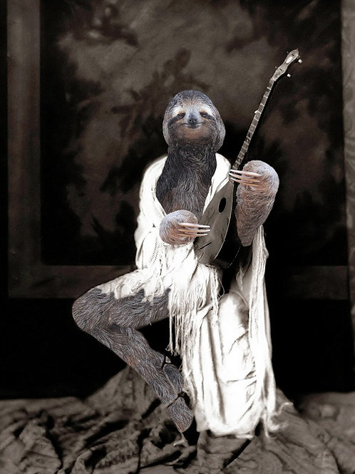 Sloth altered art photograph of Ziegfeld Follies Dancer