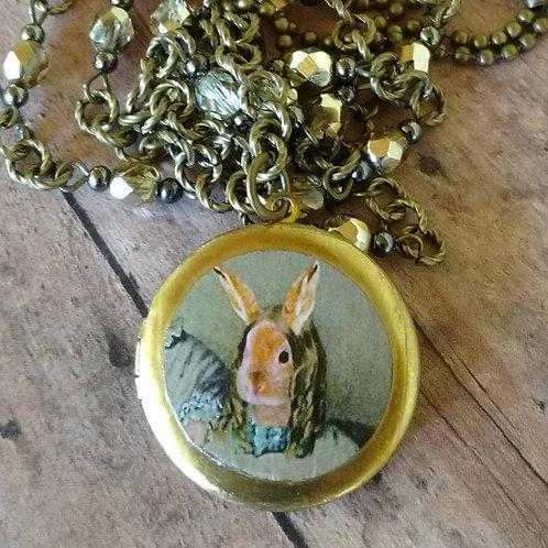 VICTORIAN Bronte BUNNY Long Rabbit Lady Locket NECKLACE altered art digita
