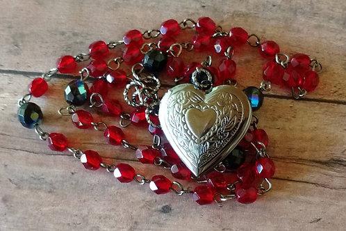 Heart ROSARY LOCKET red boho steampunk NECKLACE