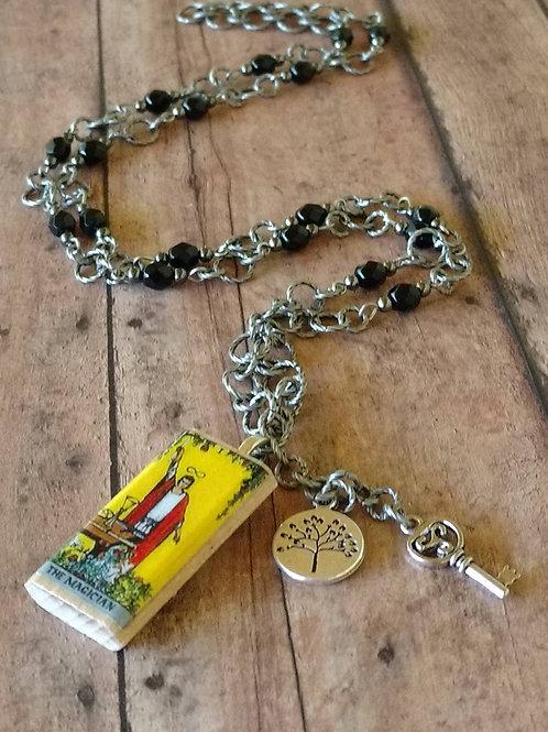 The Magician TAROT card Triquetra antique silver CHARM Necklace