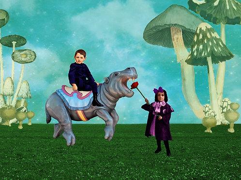 Carousel Hippo and Victorian Children in Wonderland