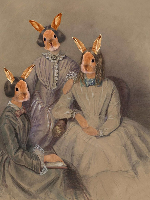 Art Portrait of Charlotte Emily Ann Bronte as Pet Bunny Sisters