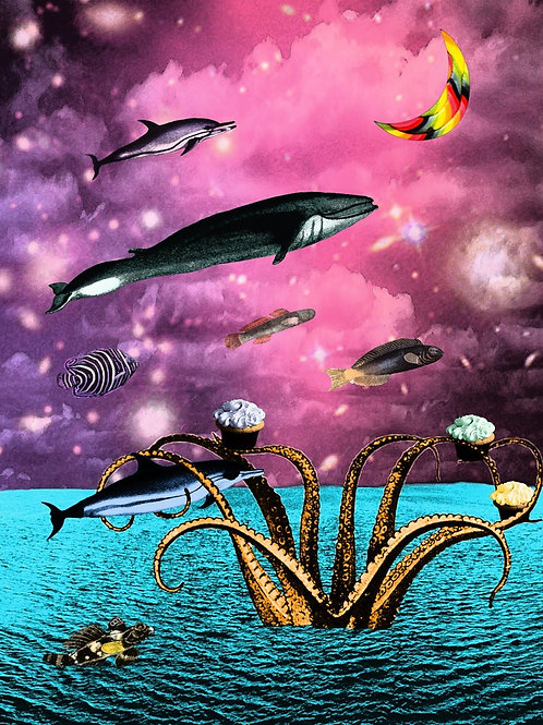 Surreal Fish fly in a Tentacle Landscape