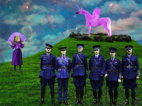 Pink Sparkly Winged Unicorn and the Victorian Guards of Paris