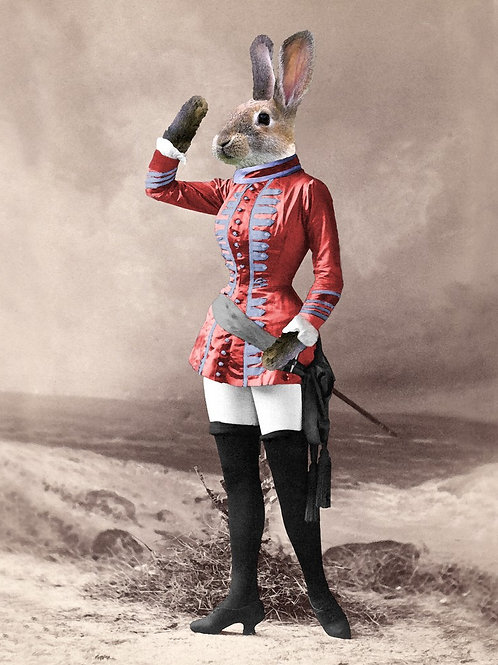Victorian Pet Salute Rabbit at attention