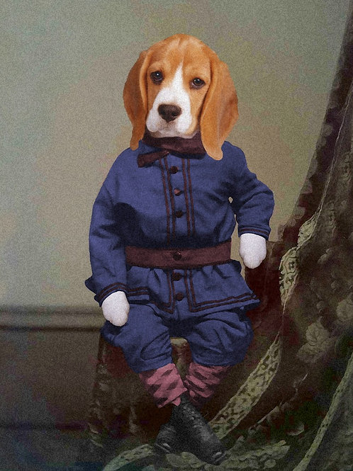 Beagle Puppy in Best Victorian Fashion