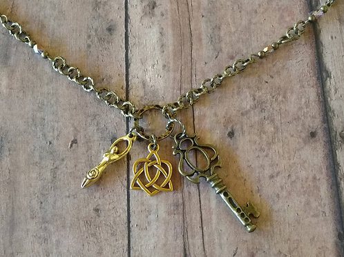 SPIRAL GODDESS Key to Enlightenment TRIQUETRA Charm Necklace