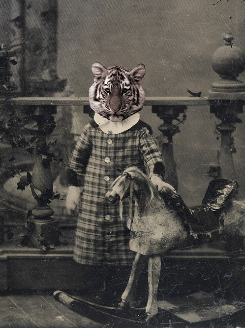 Victorian Photograph of Pet Tiger and her Rocking Horse