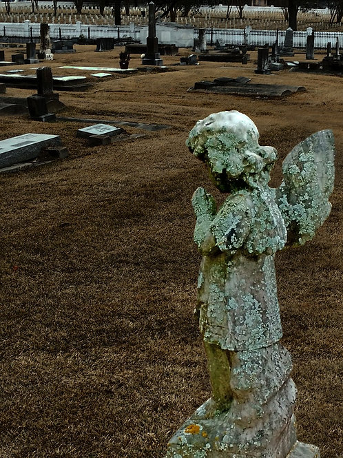 Lonely Broken Angel in Haunted Cemetery Scene
