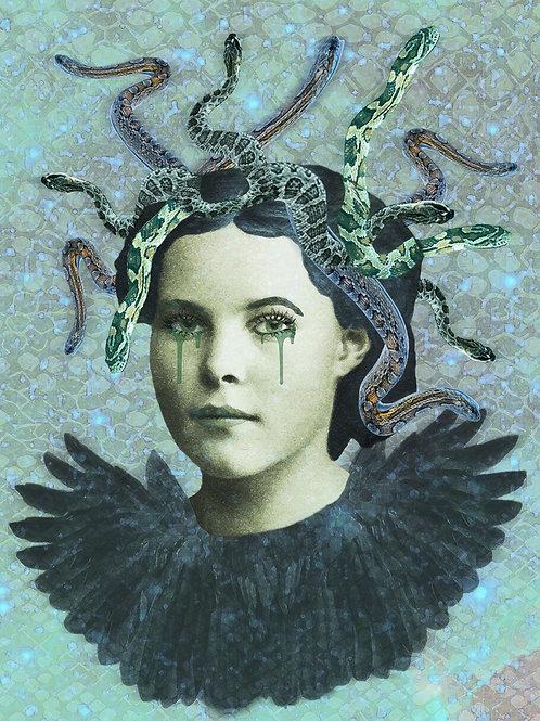 Medusa as Greek Snake Monster and Wings of Fury