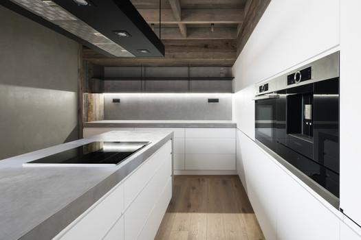 atypický kuchyňský ostrov, kuchyňská deska a obklad