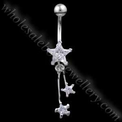Double Drop Stars Silver & Steel Navel (BM035)