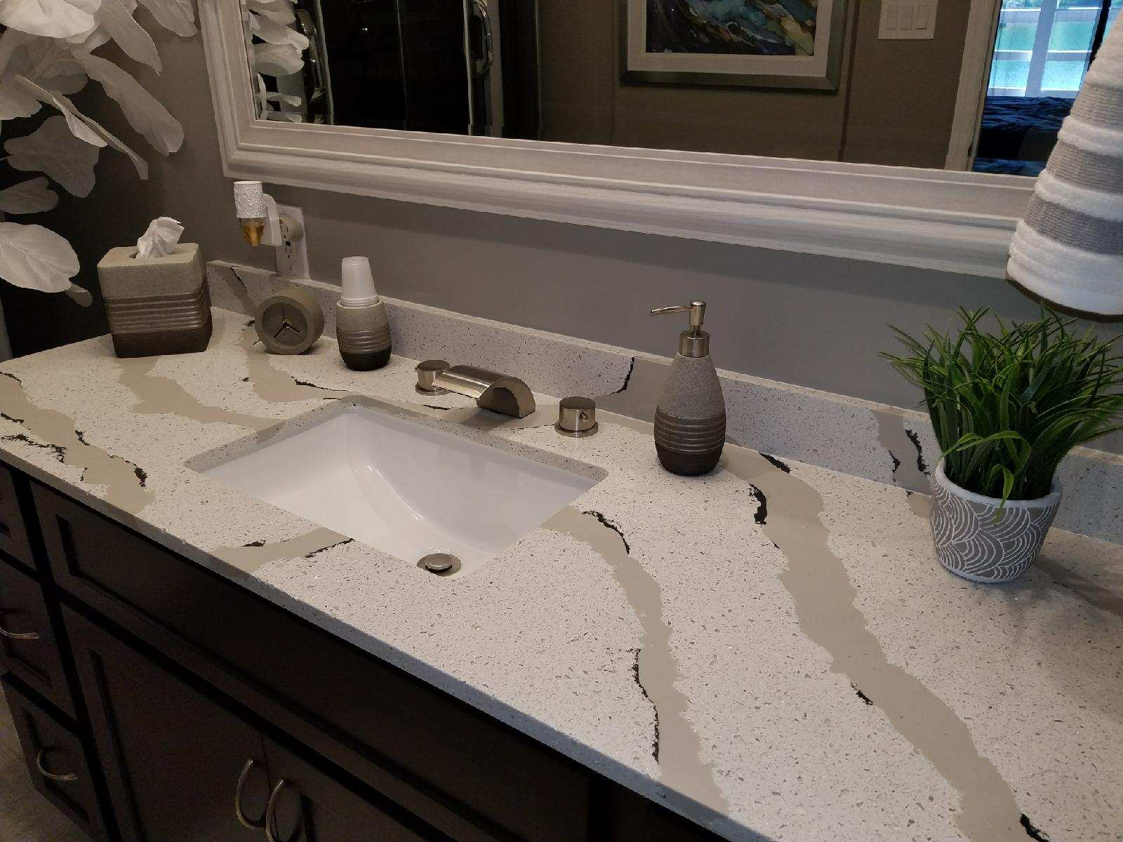 Quartz and Recycled Glass Countertop
