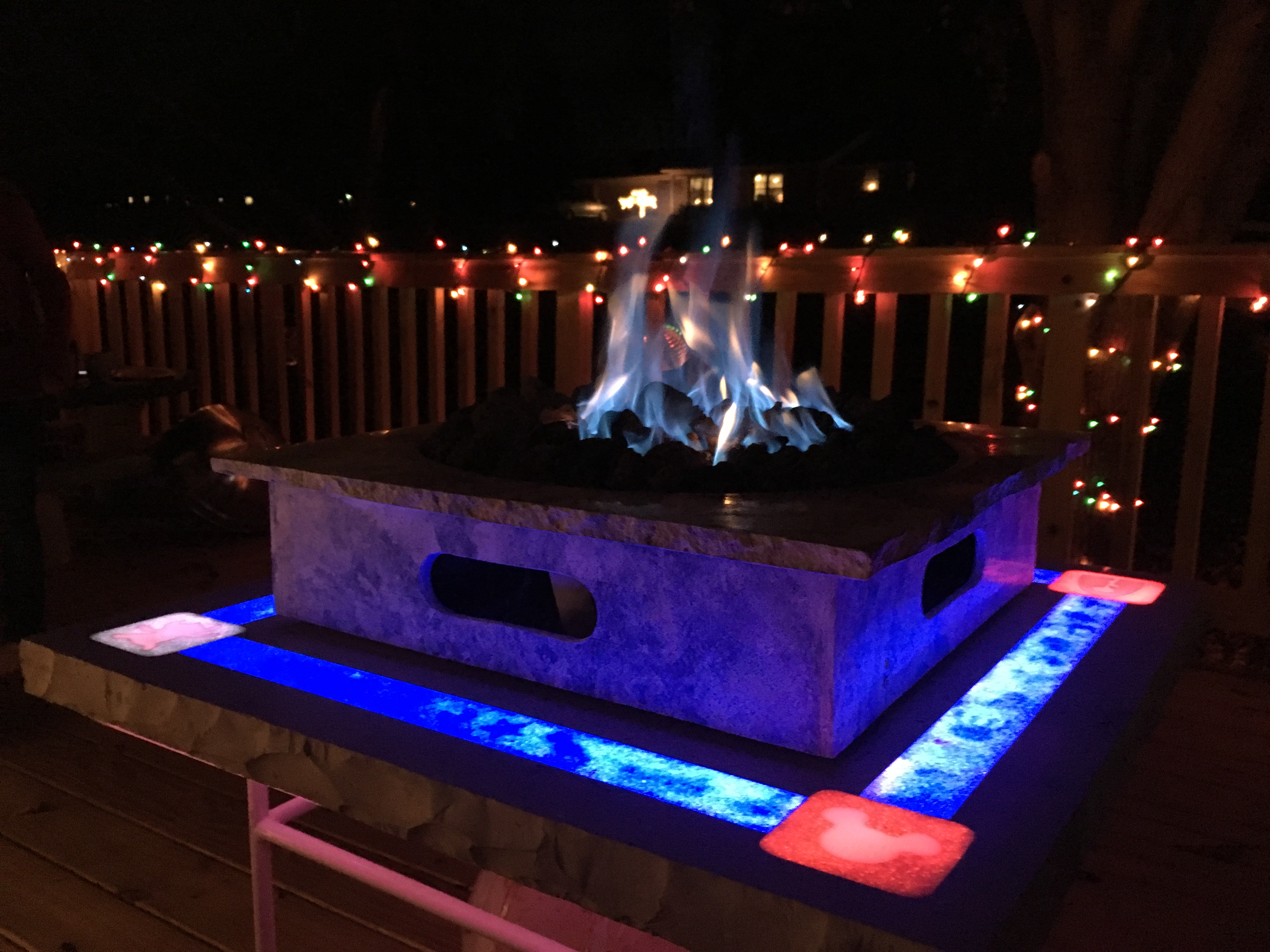 Quartz Fire Table with Lights