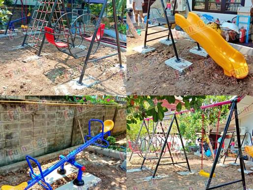 ผลงานการผลิตอุปกรณ์สนามเด็กเล่น ติดตั้งที่บ้านของลูกค้า ในเขตบึงกุ่ม กรุงเทพมหานคร
