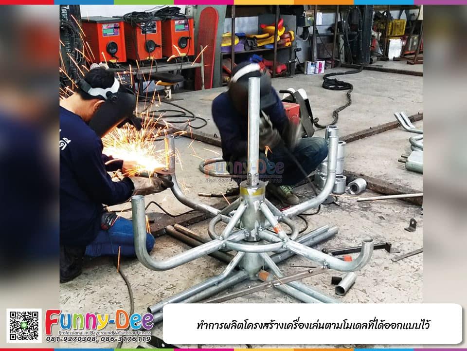 2) ผลิตโครงสร้างของเครื่องเล่นกลางแจ้ง เครื่องออกกำลังกายกลางแจ้ง และอุปกรณ์สนามเด็กเล่น
