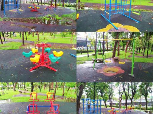 ผลงานการผลิตอุปกรณ์สนามเด็กเล่น ติดตั้งที่สวนหย่อมสะพานพระปกเกล้า