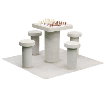 Table de jeu d'échecs en béton naturel, pour 4 personnes