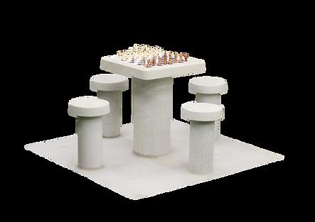 Table d'échecs en béton naturel, 4 personnes