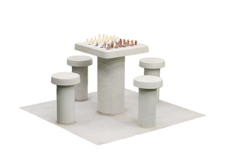 Table de jeu d'échecs en béton naturel, pour 4 personnes (prix TTC)