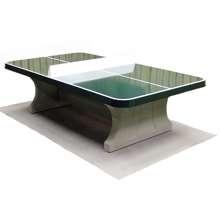 Table de ping-pong verte, angles arrondis