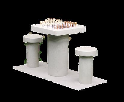 Table de jeu d'échecs en béton naturel, pour 2 personnes