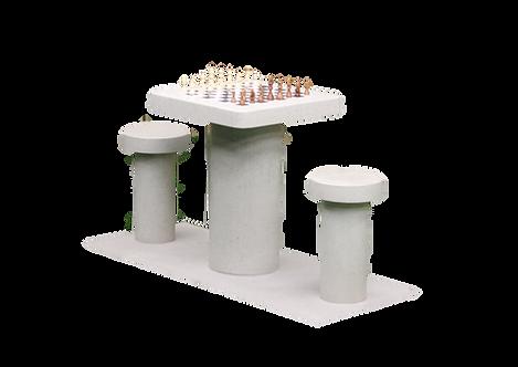 Table d'échecs en béton naturel 2 personnes