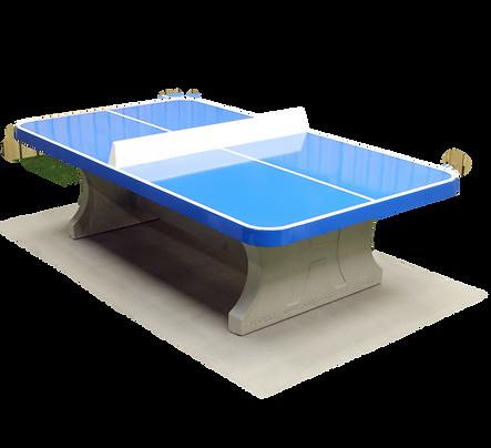 Table de ping-pong bleue, angles arrondis