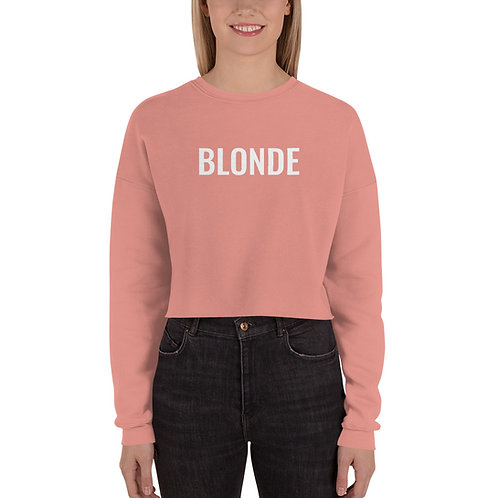 Blonde Crop Sweatshirt In White Writing