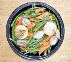 Green Beans Carrots Roasted Shallot Onion Halves