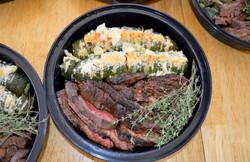 Balsamic Skirt Steak Hasselback Zucchini