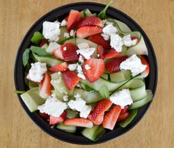 Spinach, Strawberry Cucumber Ribbon Salad Feta