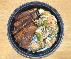 Balsamic Marinated Tofu Hasselback Zucchini