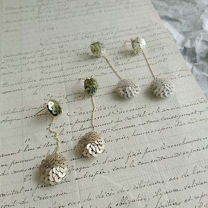 Double Spangle Chained Earrings