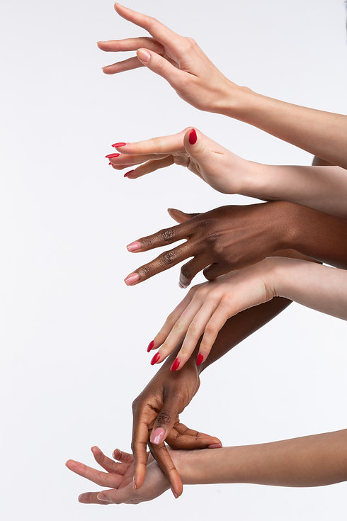Diverse women. Hands of powerful diverse