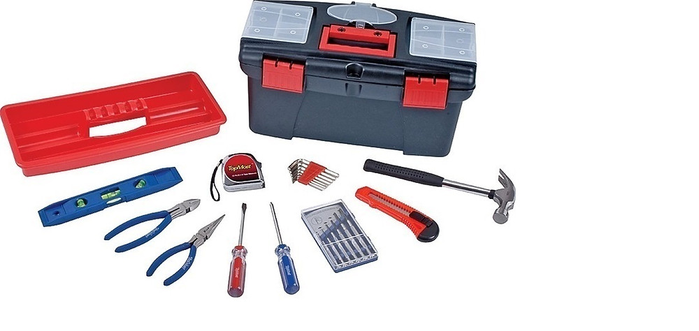 "Toolkit containing: claw hammer, Snap-off knife, 2 screw drivers, 6"" diagonal pliers, 6"" long nose pliers, 9"" torpedo level, 12' tape measure, 8-hex keys"