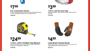 Sale on insulated gloves, duct tape, tape measure & square.