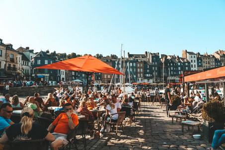Honfleur Normandy France harbour cafe